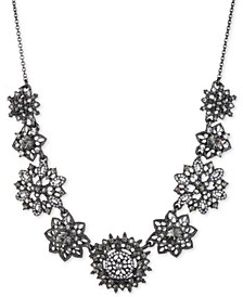 """Hematite-Tone Crystal & Imitation Pearl Cluster Statement Necklace, 16"""" + 3"""" extender"""