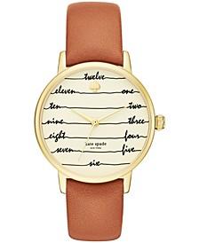 Women's Metro Three-Hand Brown Leather Watch 34mm