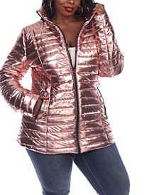 Women's Plus Size Metallic Puffer Coat