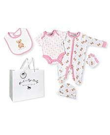 Baby Girls Little Bear Footie 5 Piece Layette Gift Set