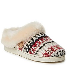 Women's Fireside Adelaide Fairisle Knit and Genuine Shearling Clog