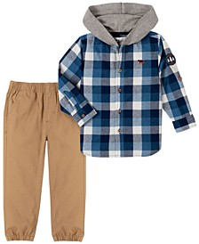 Toddler Boys Plaid Woven with Knit Hood and Jogger Pant Set, 2 Piece