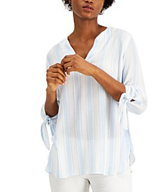 Striped Tie-Cuff Top, Regular & Petite Sizes