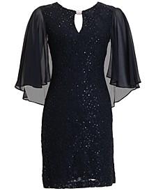 Embellished Capelet Sheath Dress