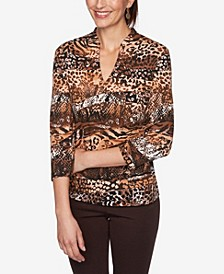 Plus Size Ombre Snake Print Top