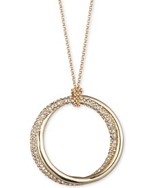 "Gold-Tone & Pavé Twist Hoop 36"" Long Pendant Necklace"