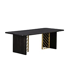 Monaco Wood Coffee Table with Brass Accent
