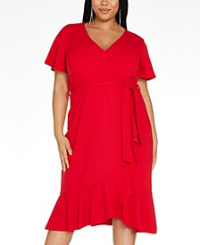 Trendy Plus Size Ruffled Fit & Flare Wrap Dress