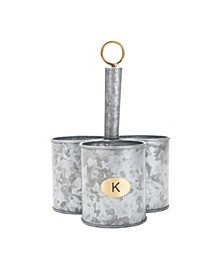 3 Section Round Galvanized Steel Utensil Holder with Handle