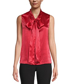 Satin Sleeveless Bow-Neck Blouse