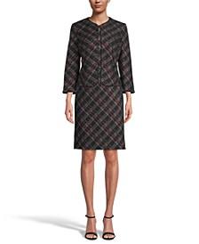 Plaid Open-Front Blazer & Jacquard-Knit Sheath Dress