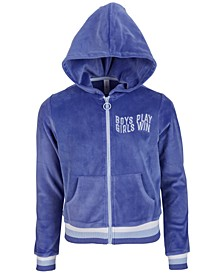 Big Girls Graphic Velour Hoodie, Created for Macy's