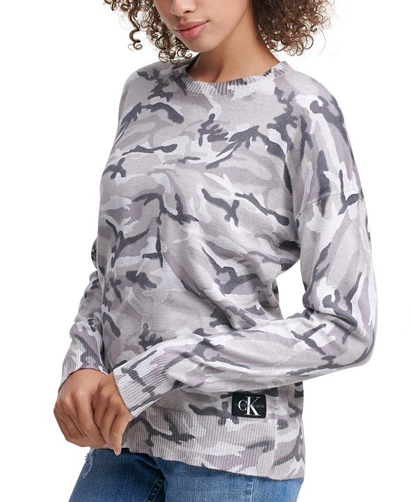 Calvin Klein Jeans Camo-Print Crewneck Sweater
