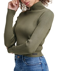 Cropped Mock-Neck Sweater