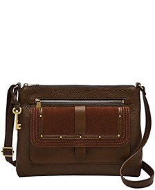 Women's Kinley Leather Crossbody with Suede Flap Studs