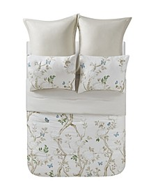 Dream Home Ava Ivory Floral 6 Piece Comforter Set, Full/Queen