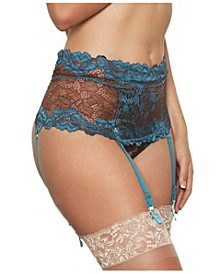 Plus Size Hi-Waist Garter Thong 2pc Lingerie Set