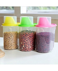 Vintiquewise Small Bpa-Free Plastic Food Saver, Kitchen Food Cereal Storage Containers with Graduated Cap, Set of 3