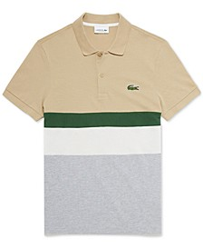 Men's Regular Fit Short Sleeve Petit Pique Striped Colorblock Polo Shirt