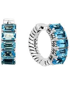 """EFFY® Blue Topaz Small Hoop Earrings (3-1/3 ct. t.w.) in Sterling Silver, 0.57"""""""