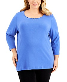 Plus Size Studded Scallop-Trim Top, Created for Macy's