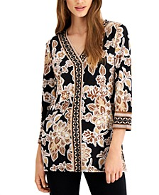 Oasis Embellished Mixed-Print Top, Created for Macy's