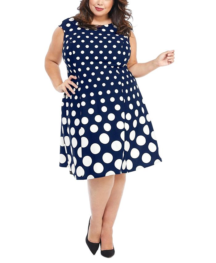 London Times - Plus Size Graduated-Dot Dress