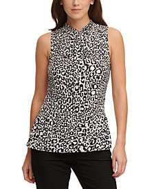 Animal-Print Pleated Tie-Neck Top