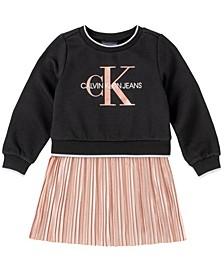 Baby Girls Pleated Fleece Dress