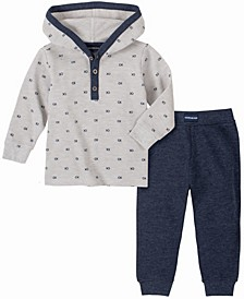 Baby Boys Thermal Print Hooded Bodysuit Pant Set