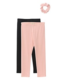 Big Girls 2-Pack Peached Leggings with Scrunchie