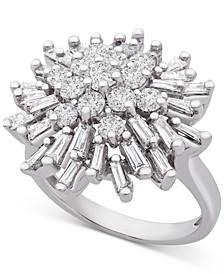 Diamond Starburst Cluster Ring (1-1/2 ct. t.w.) in 14k White Gold, Created for Macy's