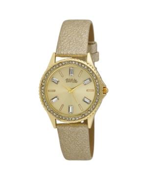 Women's Gold-Tone Alloy Strap Baguette Stone Bezel Watch