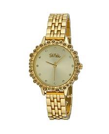 Women's Gold-Tone Alloy Bracelet Crystal Bezel Watch, 31mm