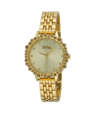 Women's Gold-Tone Alloy Bracelet Crystal Bezel Watch