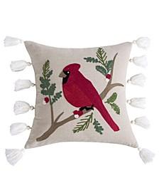 """Home Thatch Home Joybirds Cardinal Embroidered Tassel 18"""" X 18"""" Pillow"""