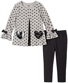 2 Piece Toddler Girls Hearts Tunic and Legging Set
