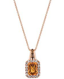 """Cinnamon Citrine (1-1/3 ct. t.w.) & Vanilla Diamond (3/8 ct. t.w.) 18"""" Pendant Necklace in 14k Rose Gold"""