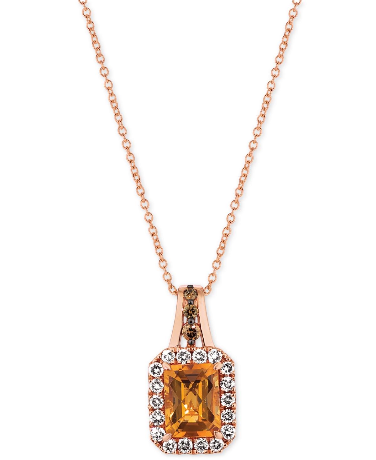"Cinnamon Citrine (1-1/3 ct. t.w.) & Diamond (3/8 ct. t.w.) 18"" Pendant Necklace in 14k Rose Gold"