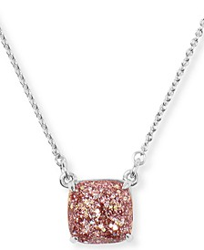 """Glitter Crystal Square Pendant Necklace, 17"""" + 3"""" extender"""