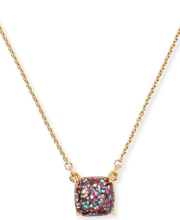 "kate spade new york Glitter Crystal Square Mini Pendant Necklace, 17"" + 3"" extender"