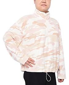 Trendy Plus Size Printed Fleece Top