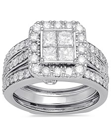 Diamond Princess Halo Ring (2 ct. t.w.) in 10k White Gold