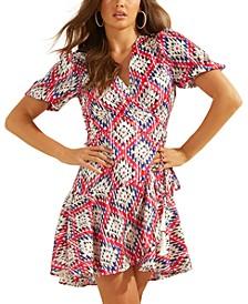 Candy Printed Faux-Wrap Dress