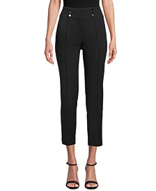Petite Button-Detail Ankle Pants