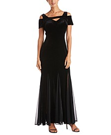 Plus Size Velvet Cold-Shoulder Gown