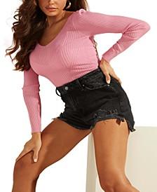 Elena Ribbed V-Neck Sweater