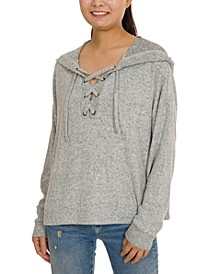Juniors' Cozy Lace-Up Hoodie