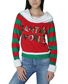 Juniors' Santa's Favorite Sequin Graphic Sweater
