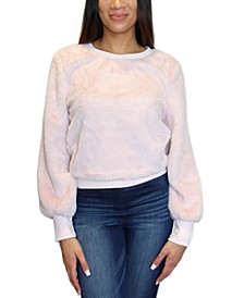 Crave Frame Juniors' Balloon Sleeve Faux Fur Sweatshirt